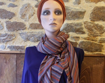 Stole, striped viscose chiffon scarf taupe-Violine-Brown