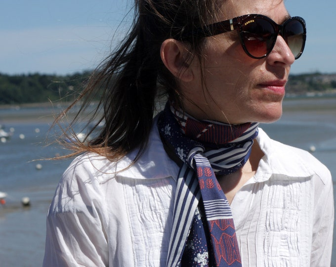 Featured listing image: Scarf, Ascot, tie women Blue - White Rose flowers and striped cotton. Vintage woman bowtie
