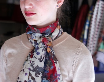Floral scarf woman viscose veil, long scarf and boho flower wool sandwich