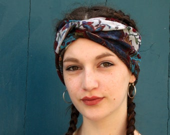 Blue-brown-golden turban headband in tulle-tulle. Headband original hairstyle . Wool Tartine