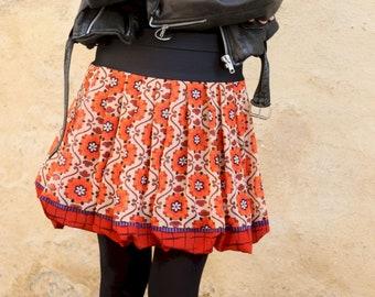 Orange Ball Skirt with Flowers and Rosace, Hippie Chic Boho . Women's Skirt Original Creation Laine Tartine