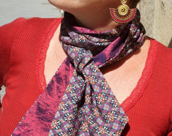 Scarf, Ascot, tie women, bicolor patterns Kaleidoscope and taffeta Pink-Purple retro tie cotton taffeta