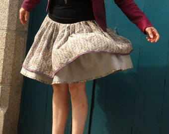 Grey Green Swing-Rock Retro Skirt with Small Patterns. Pleated skirt Original creation taffeta and Acetate