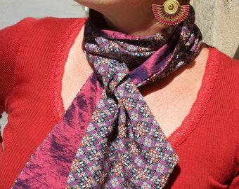 Foulard, Lavallière, Cravate Femme, Bicolore Motifs Kaléidoscope et taffetas rose-Violet Look rétro Cravate en Coton-Taffetas