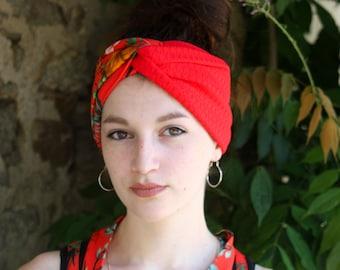 Headband Bandeau-Turban Orange Tropical et Toucan bicolore Rouge en Jersey Coton. Coiffure Rétro Turban