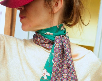 Scarf, Ascot, tie women, emerald green flowers of cherry and rose graphic green Rose