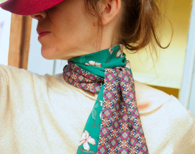 Featured listing image: Scarf, Ascot, tie women, emerald green flowers of cherry and rose graphic green Rose