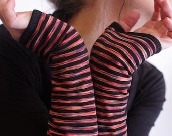 Mitten stripe black and orange. Jersey cotton and Lycra. Mitten woman fabric