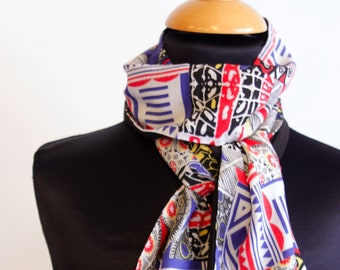 Women scarf, cotton graphic patterns silver multicolor bicolor black stripe. Slice of wool