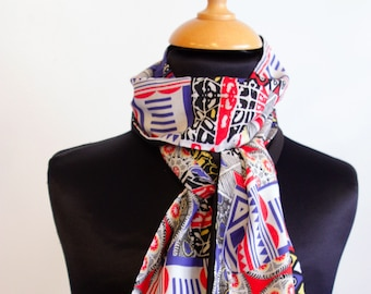Scarf, Ascot, tie women, graphic black white yellow red blue patterned cotton. Slice of wool