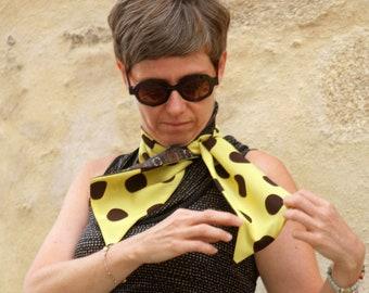 Scarf, Ascot, tie women, big dots Brown retro yellow tie Viscose acetate.