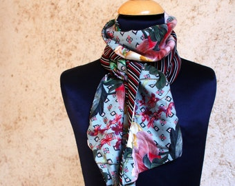 Women scarf with stripes and flowers in satin and cotton. Slice of wool