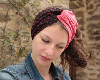 Rockabilly black polka dots red viscose and pink Jersey headband-Turban