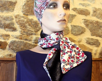 Winter woman scarf, Velvet Scarf-Lavallière and marine blue viscose and orange pink flowers. Wool Tartine