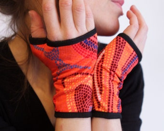 Short mitten mosaic pink orange violet in Lycra and Jersey cotton. Gloves Mitaine summer