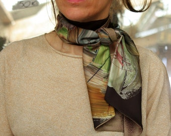 Scarf, Ascot, tie, chocolate brown bicolor abstract patterns of colors, and gold Rose Acetate