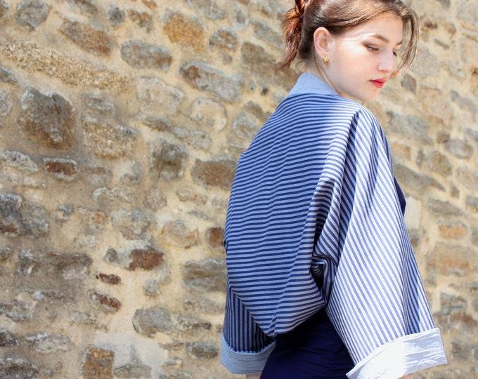 Featured listing image: Women's Bolero kimono, spring summer bolero jacket with blue stripes. Wool Tartine