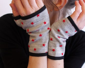 Mitten grey wool lined cotton red star.  Fingerless gloves. Slice of wool