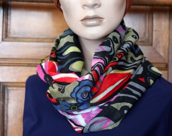 Scarf-Snood, scarf spring Arabesque Motifs and Volutes blue-Beige-black-pink cotton Voile. Slice of wool