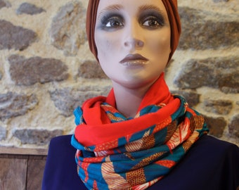 Scarf collar, Snood blue patterned leaf and feather red-orange in fishnet and Jersey cotton. Infinity scarf in Jersey.