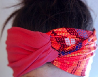 Pink and orange hair headband with a two-tone turban in Lycra and cotton. Pink woman headband.