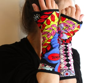 Multicolor Long Mitaine with Psychedelic Patterns and Cotton Jersey Flowers. Lined mitten