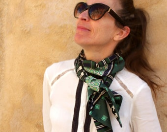 Scarf, Ascot, tie women, Blue Navy green Fifties retro tie in Viscose and acetate