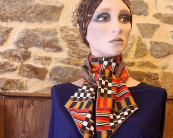 Winter scarf, orange-black-white checkerboard scarf and Chevron Brown wool. Fine Wool Scarf Look Retro .