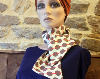 Winter scarf, Scarf-Lavallière Écru Peas Taupe and Coral and Chevron Brown Wool . Fine Wool Scarf Look Retro .