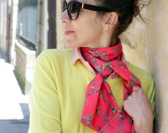 Scarf, Ascot, tie women, bow tie hot pink small crepe viscose.