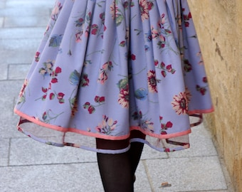 Skirt New Fifties gingham and flowers. skirt pleated floral original creation. Rock Rockabilly Swing skirt