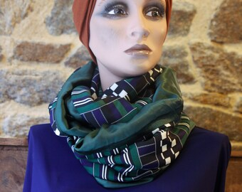 Stole-Châle, Infinite Vintage Spirit Scarf at Checkier Tiles Vert-Noir-White-Marine . Wool Tartine