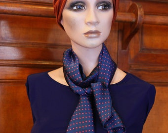 Scarf, Ascot, tie women, Satin Blue with polka dots pink raspberry retro tie. Slice of wool