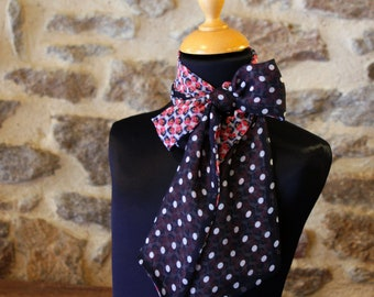 Scarf, Ascot, tie women Navy Blue with white polka dots and flowers pink chiffon Butterfly Viscose.noeud vintage woman