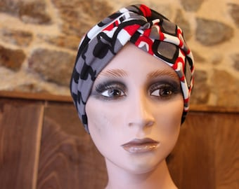 Headband Pattern Edin black-red and white.  Wool Tartine Accessories Autumn Winter