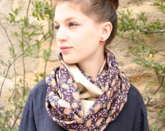 Stole-shawl, scarf in purple gold flowers. Shoulder cover. Bohemian scarf