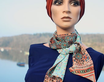 Printed scarf, women's Lavallière, turquoise blue and orange-brown chiffon. Wool Tartine.