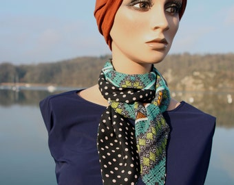 Black woman scarf with polka dots and ethnic motifs in cotton veil and viscose crepe. Laine Lavallière's Tartine