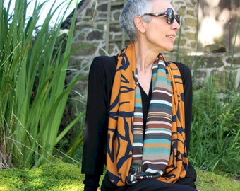 Infinite scarf or stole woman Ocre and Green stripe . infinite scarf in cotton fabrics and viscose. Tartine de Laine