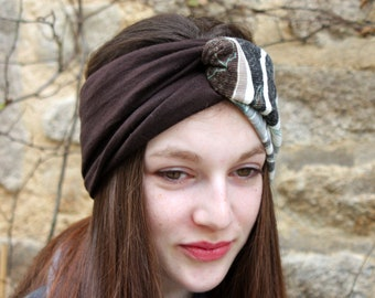 Headband headband gray white Brown leaves and Brown bicolor Retro spirit
