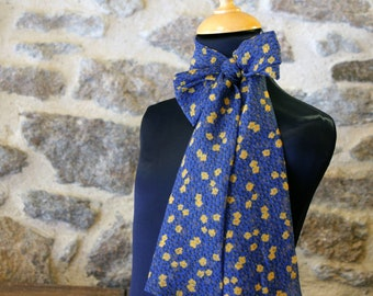 Long scarf, Lavallière, Cravate Femme, Blue Woman Butterfly Knot with Yellow Flowers in Viscose Veil.