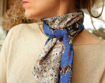 Scarf in two-tone gray green pink blue flowers. scarf woman Ascot. Slice of wool