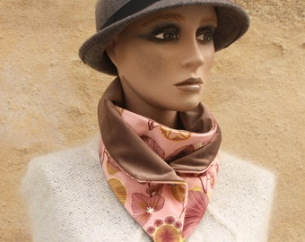 Button collar, velvet scarf printed Rose Pastel floral patterns yellow and burgundy interior beige velvet. Winter scarf collar.