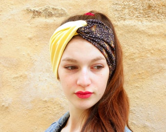 Turban headband, Retro Bicolore Coiffure Fleuris Plumetis, Grey Violine in Viscose and Jersey Yellow Cotton Straw.