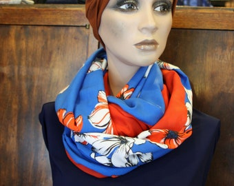Snood scarf - infinity scarf with flowers. Two-tone blue with large white-Orange flowers. Viscose and cotton. Wool Snood spring bread