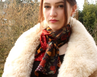 Ascot scarf with flowers in fall colors, vintage scarves in satin. Slice of wool