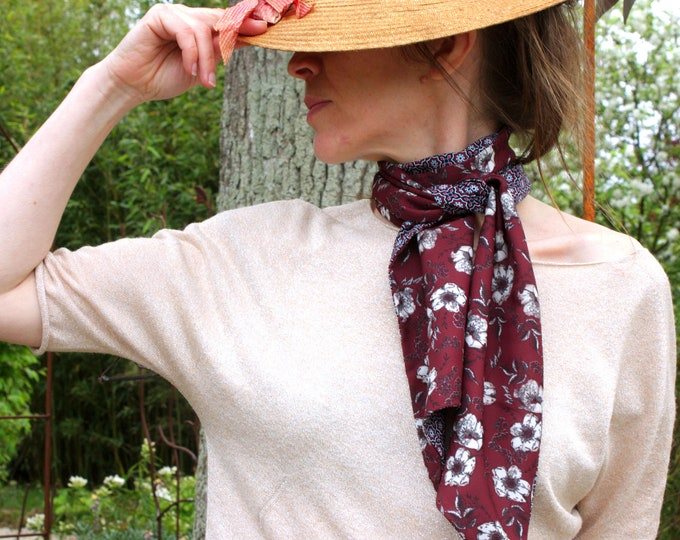 Featured listing image: Ascot tie, Brown-blue flowers and rose cotton and Viscose scarf.