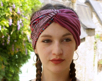 Headband-Turban patterned Totem and stripes cotton and Jersey. Two-tone purple rose hair headband