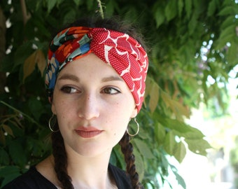 Turban headband with orange green blue and red flowers cotton and lycra Jersey. Two-tone hair headband