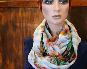 Scarf-Snood, scarf with flowers and fish flowers of silk and Lycra. Neck Snood Tartine wool silk scarf